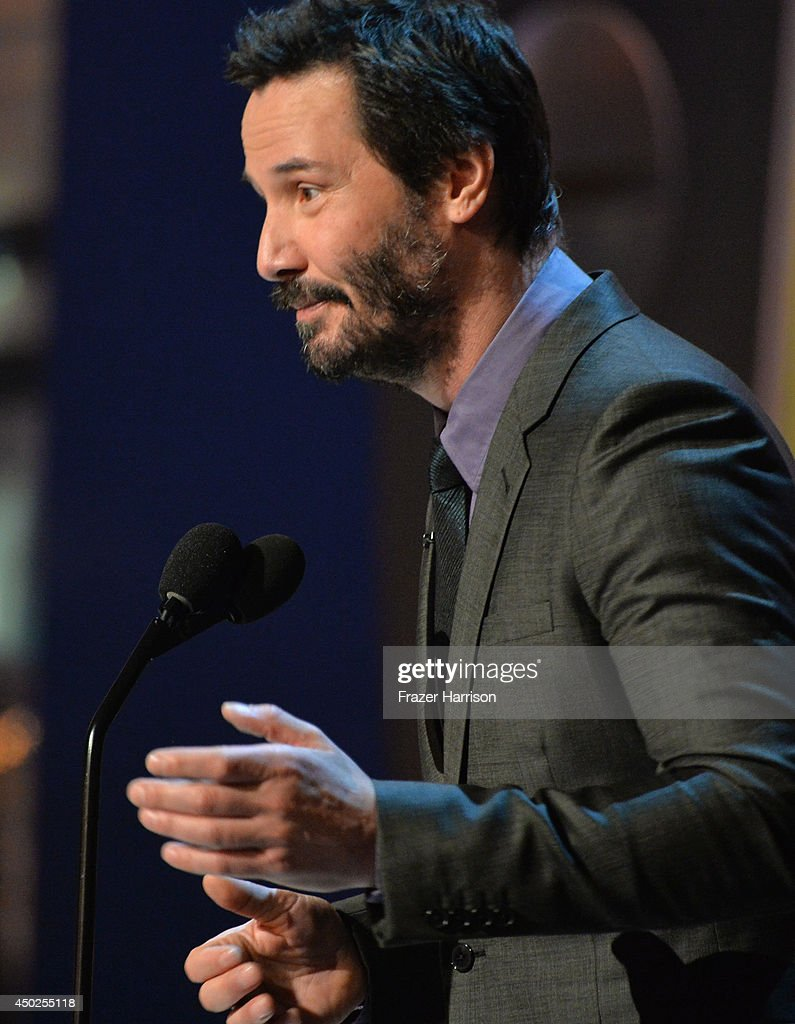 Actor Keanu Reeves speaks onstage during Spike TV's 'Guys Choice 2014' at Sony Pictures Studios on June 7, 2014 in Culver City, California.