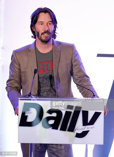 COVERAGE Actor Keanu Reeves speaks onstage during The Daily Front Row 'Fashion Los Angeles Awards' 2016 at Sunset Tower Hotel on March 20 2016 in...