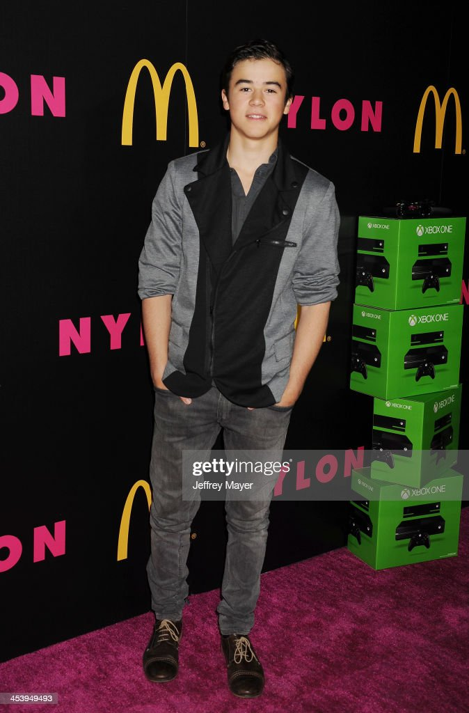 Actor Keean Johnson attends NYLON + McDonald's Dec/Jan issue launch party, hosted by cover star Demi Lovato at Quixote Studios on December 5, 2013 in West Hollywood, California.