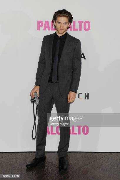 Actor Keegan Allen arrives at Tribeca Film's 'Palo Alto' Los Angeles Premiere at the Director's Guild of America on May 5 2014 in Los Angeles...