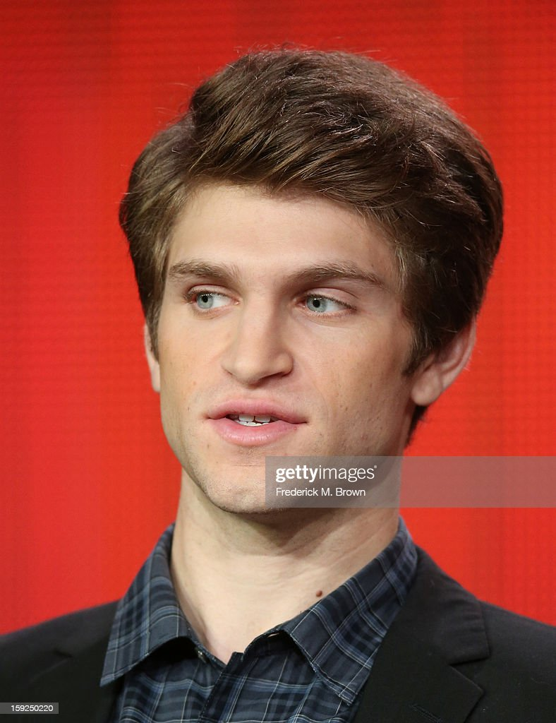 Actor Keegan Allen of 'Pretty Little Liars' speaks onstage during the ABC portion of the 2013 Winter TCA Tour at Langham Hotel on January 10, 2013 in Pasadena, California.