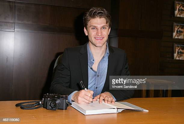 Actor Keegan Allen signs copies of his new book 'lifelovebeauty' at Barnes Noble bookstore at The Grove on February 10 2015 in Los Angeles California