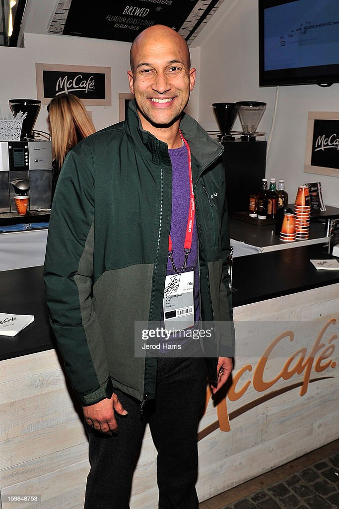 Actor Keegan Michael Key warms up at the McDonald's McCafe at Sundance on January 21, 2013 in Park City, Utah.