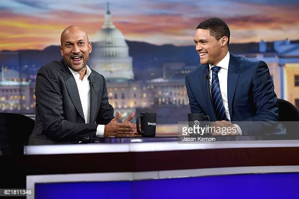 "Actor KeeganMichael Key and host Trevor Noah on 'The Daily Show with Trevor Noah' LIVE onehour ""Democalypse 2016"" Election Night special on November..."