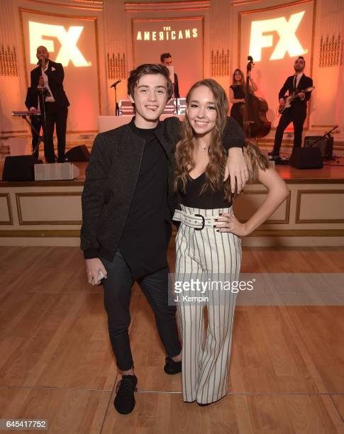 Actor Keidrich Sellati and actress Holly Taylor attend the after party for 'The Americans' Season 5 Premiere at The Plaza Hotel on February 25 2017...