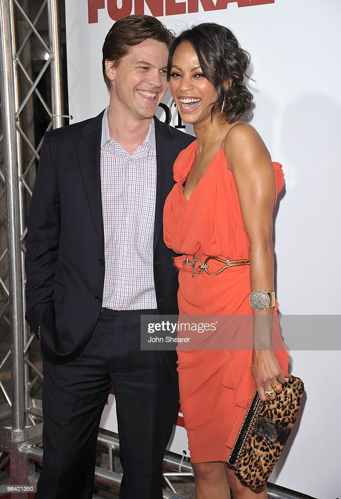 Actor Keith Britton and actress <a gi-track='captionPersonalityLinkClicked' href=/galleries/search?phrase=Zoe+Saldana&family=editorial&specificpeople=542691 ng-click='$event.stopPropagation()'>Zoe Saldana</a> arrive to the 'Death At A Funeral' Los Angeles Premiere at Pacific's Cinerama Dome on April 12, 2010 in Hollywood, California.