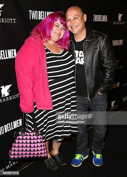 Actor Keith Coogan and Pinky LovejoyCoogan attend the premiere of 'Two Bellman' at JW Marriott Los Angeles at LA LIVE on March 10 2015 in Los Angeles...