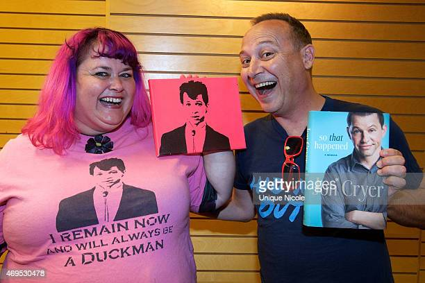 Actor Keith Coogan and wife Pinky with Duckie swag at Jon Cryer Signs And Discusses His New Book 'So That Happened A Memoir' at Barnes Noble 3rd...