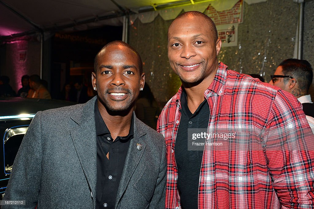 Actor Keith Robinson and sportsman Eddie George attend SA Studios and Mister Cartoon VIP Screening and After Party of Warner Brothers Pictures 'Gangster Squad' at SA Studios on November 29, 2012 in Los Angeles, California.