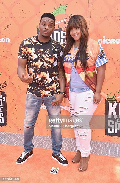 Actor Kel Mitchell and recording artist Asia Lee attend the Nickelodeon Kids' Choice Sports Awards 2016 at UCLA's Pauley Pavilion on July 14 2016 in...