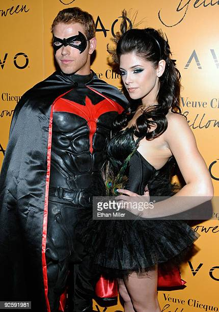 Actor Kellan Lutz and actress Ashley Greene from the 'Twilight' movie series arrive at Veuve Clicquot's Yelloween at the Tao Nightclub at the...