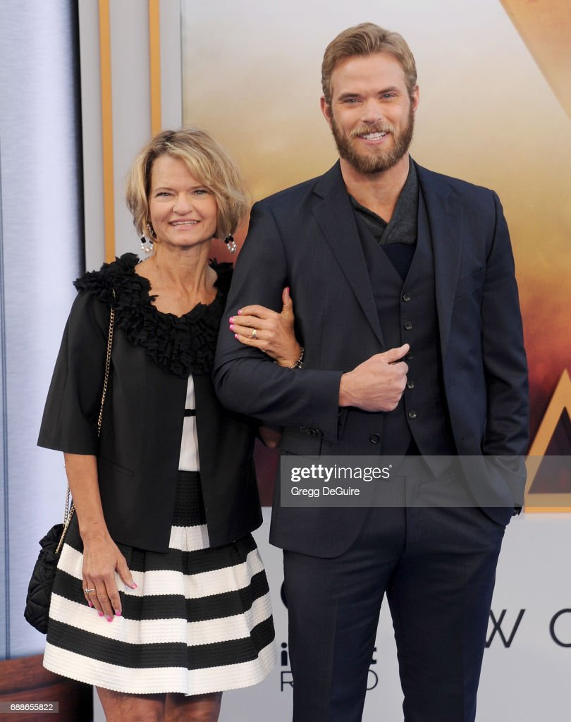 Actor Kellan Lutz and mom Karla Pope arrive at the premiere of Warner Bros. Pictures' 'Wonder Woman' at the Pantages Theatre on May 25, 2017 in Hollywood, California.