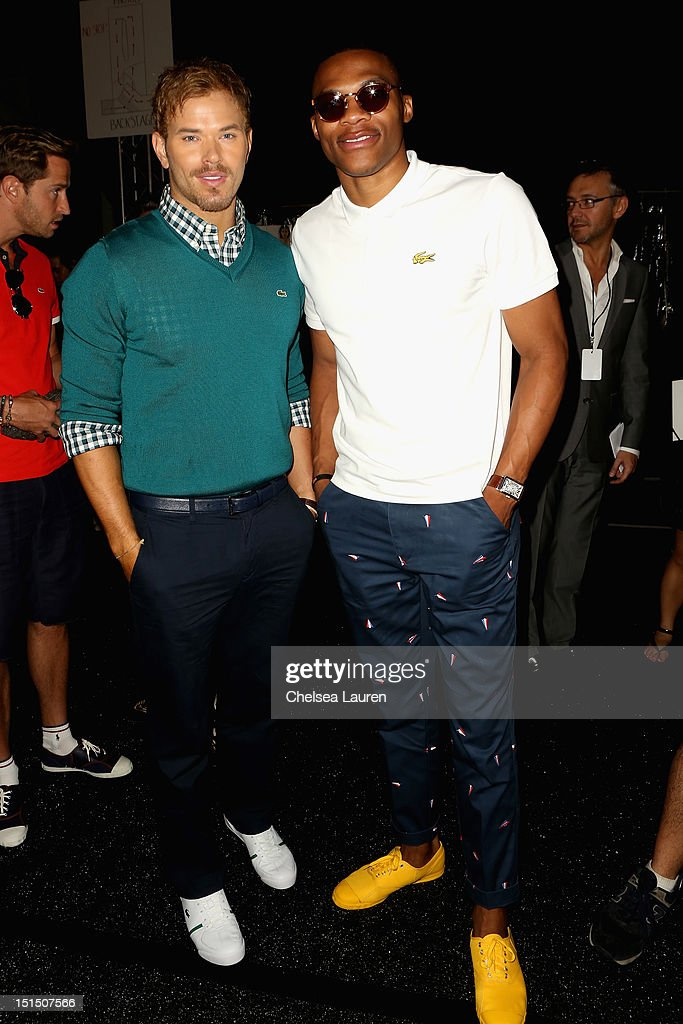 Actor Kellan Lutz and NBA player Russell Westbrook pose backstage at the Lacoste Spring 2013 fashion show during Mercedes-Benz Fashion Week at The Theatre, Lincoln Center on September 8, 2012 in New York City.