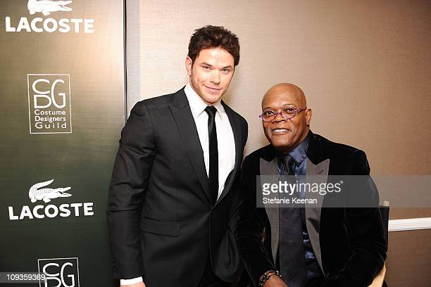 Actor Kellan Lutz and Samuel L Jackson pose at the 13th Annual Costume Designers Guild Awards with presenting sponsor Lacoste held at The Beverly...