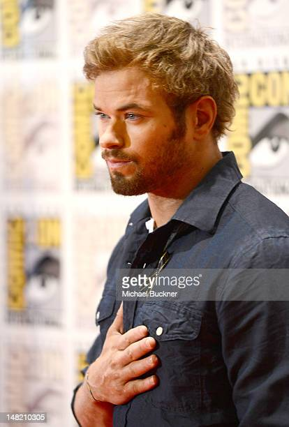 Actor Kellan Lutz arrives at the press conference for 'The Twilight Saga Breaking Dawn Part 2' at San Diego ComicCon 2012 at San Diego Convention...