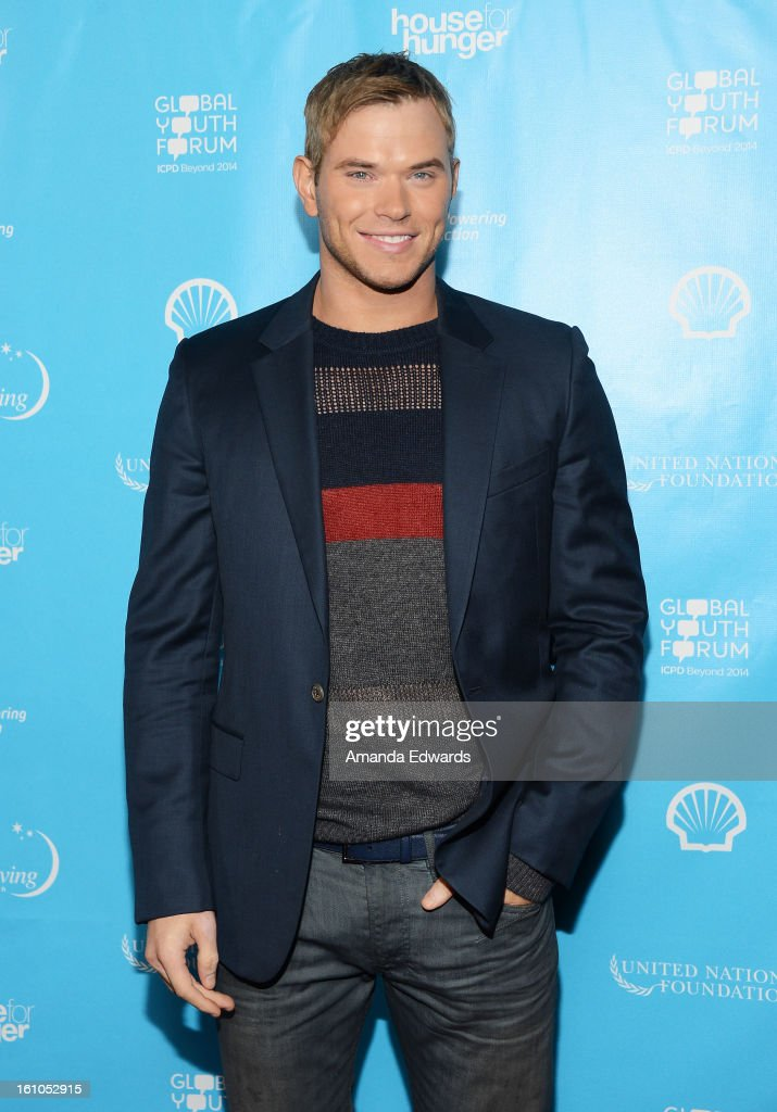 Actor Kellan Lutz arrives at the United Nations Foundation's 'mPowering Action' Innovative Mobile Platform launch party at The Conga Room at L.A. Live on February 8, 2013 in Los Angeles, California.