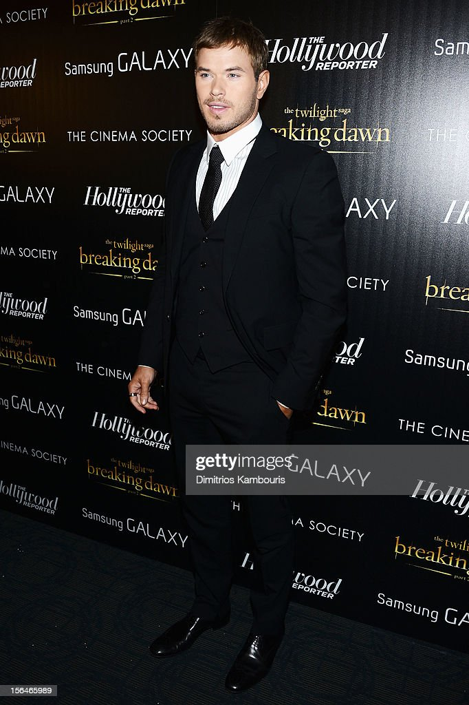 Actor <a gi-track='captionPersonalityLinkClicked' href=/galleries/search?phrase=Kellan+Lutz&family=editorial&specificpeople=683287 ng-click='$event.stopPropagation()'>Kellan Lutz</a> attends The Cinema Society with The Hollywood Reporter & Samsung Galaxy screening of 'The Twilight Saga: Breaking Dawn Part 2' on November 15, 2012 in New York City.