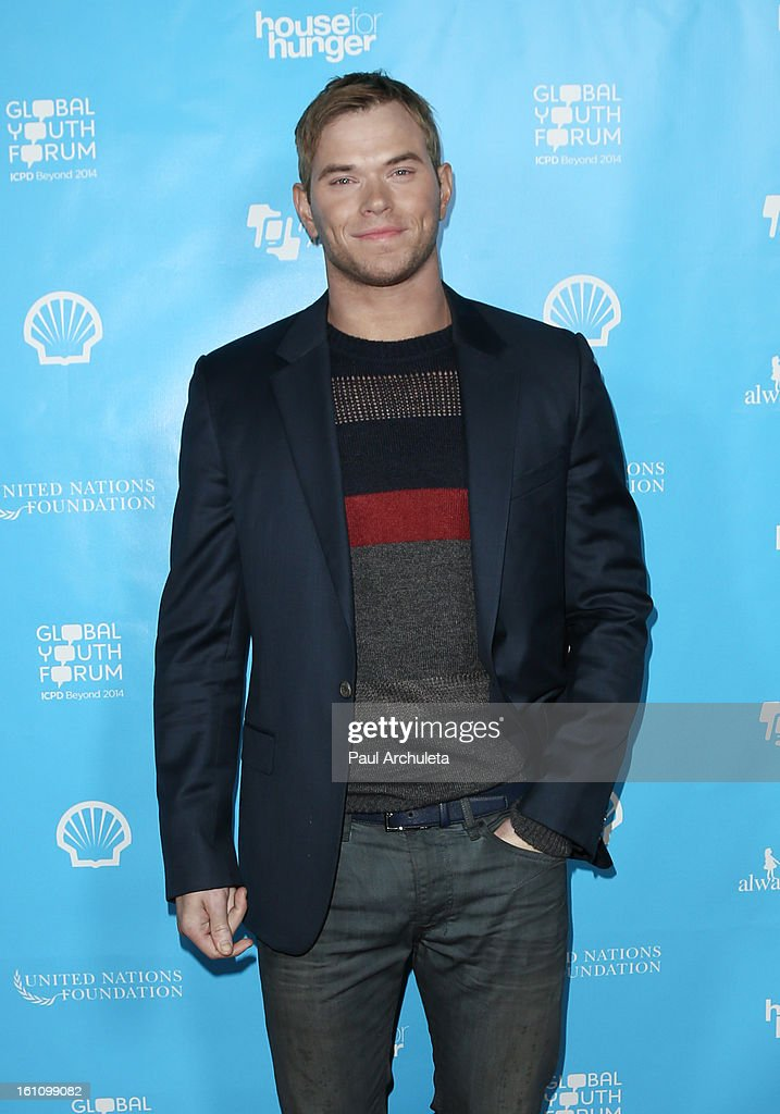 Actor <a gi-track='captionPersonalityLinkClicked' href=/galleries/search?phrase=Kellan+Lutz&family=editorial&specificpeople=683287 ng-click='$event.stopPropagation()'>Kellan Lutz</a> attends the 'mPowering Action' platform launch at The Conga Room at L.A. Live on February 8, 2013 in Los Angeles, California.