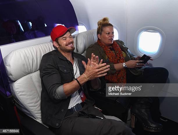 Actor Kellan Lutz boards the Virgin America Downtown Express from DFW to Dallas Love Field on October 13 2014 in Dallas Texas