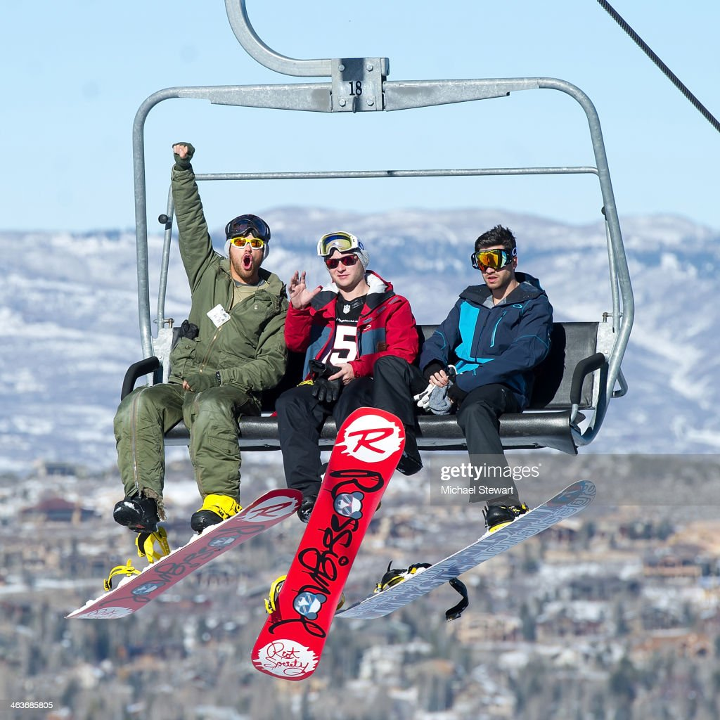 Actor Kellan Lutz, Brandon Lutz and Ryan Rottman attend Oakley Learn To Ride With AOL at Sundance on January 18, 2014 in Park City, Utah.