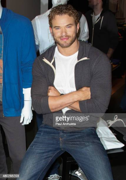 Actor Kellan Lutz celebrates the launch of his Abbot Main spring 2014 collection at Bloomingdale's Beverly Center on March 23 2014 in Los Angeles...