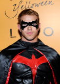 Actor Kellan Lutz from the 'Twilight' movie series arrives at Veuve Clicquot's Yelloween at the Tao Nightclub at the Venetian Resort Hotel Casino...