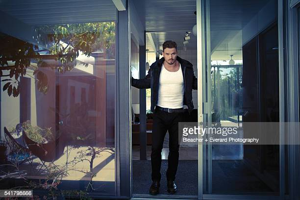 Actor Kellan Lutz is photographed for August Man on August 21 2014 in Los Angeles California Styling Erin McSherry Jacket jeans and shoes all by...
