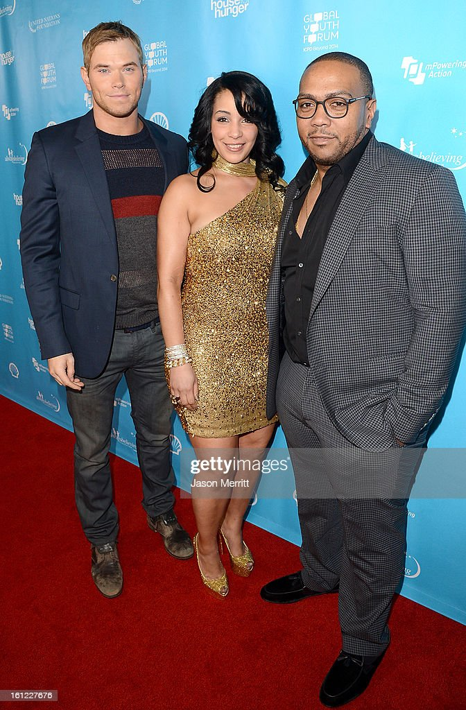Actor Kellan Lutz, Monique Idlett Mosley and Timbaland join mPowering Action, a global mobile youth movement at Grammy Week launch, featuring performances by Timbaland and Avicii at The Conga Room at L.A. Live on February 8, 2013 in Los Angeles, California.