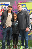 Actor Kellan Lutz Olympic Gold Medalist Shawn Johnson and Arizona Cardinals punter Drew Butler participate in the 'Oxygen 2015 Super Bowl XLIX...