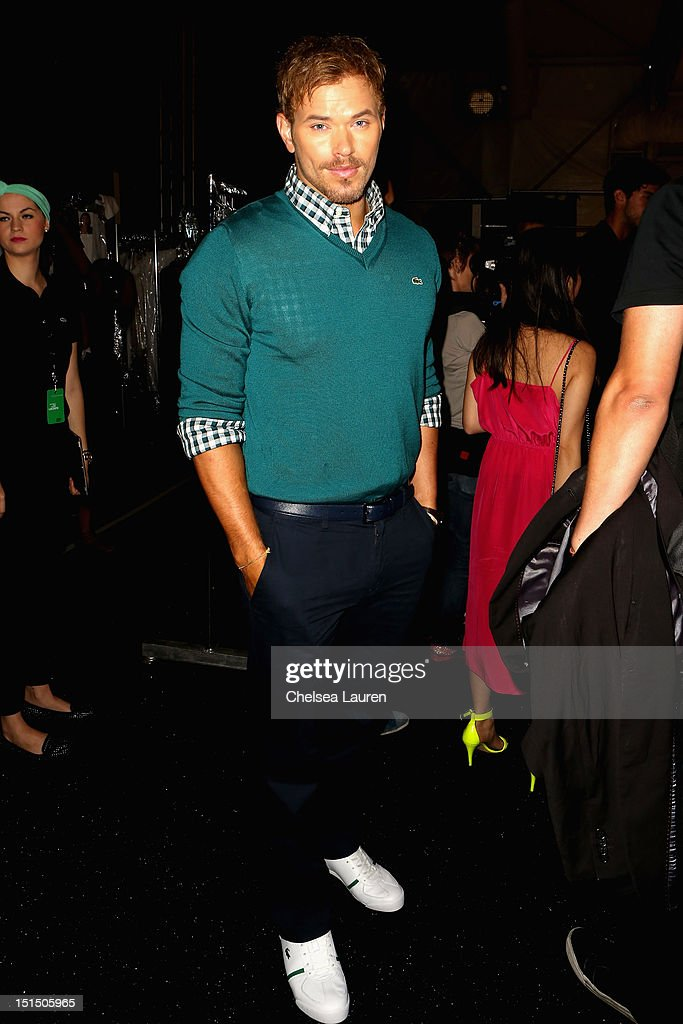 Actor Kellan Lutz poses backstage at the Lacoste Spring 2013 fashion show during Mercedes-Benz Fashion Week at The Theatre, Lincoln Center on September 8, 2012 in New York City.
