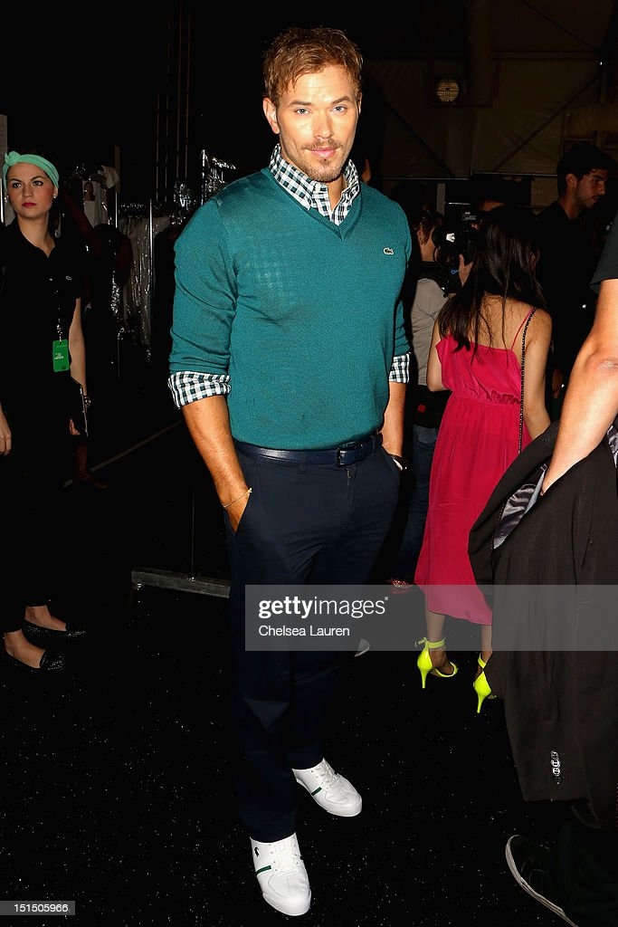Actor <a gi-track='captionPersonalityLinkClicked' href=/galleries/search?phrase=Kellan+Lutz&family=editorial&specificpeople=683287 ng-click='$event.stopPropagation()'>Kellan Lutz</a> poses backstage at the Lacoste Spring 2013 fashion show during Mercedes-Benz Fashion Week at The Theatre, Lincoln Center on September 8, 2012 in New York City.