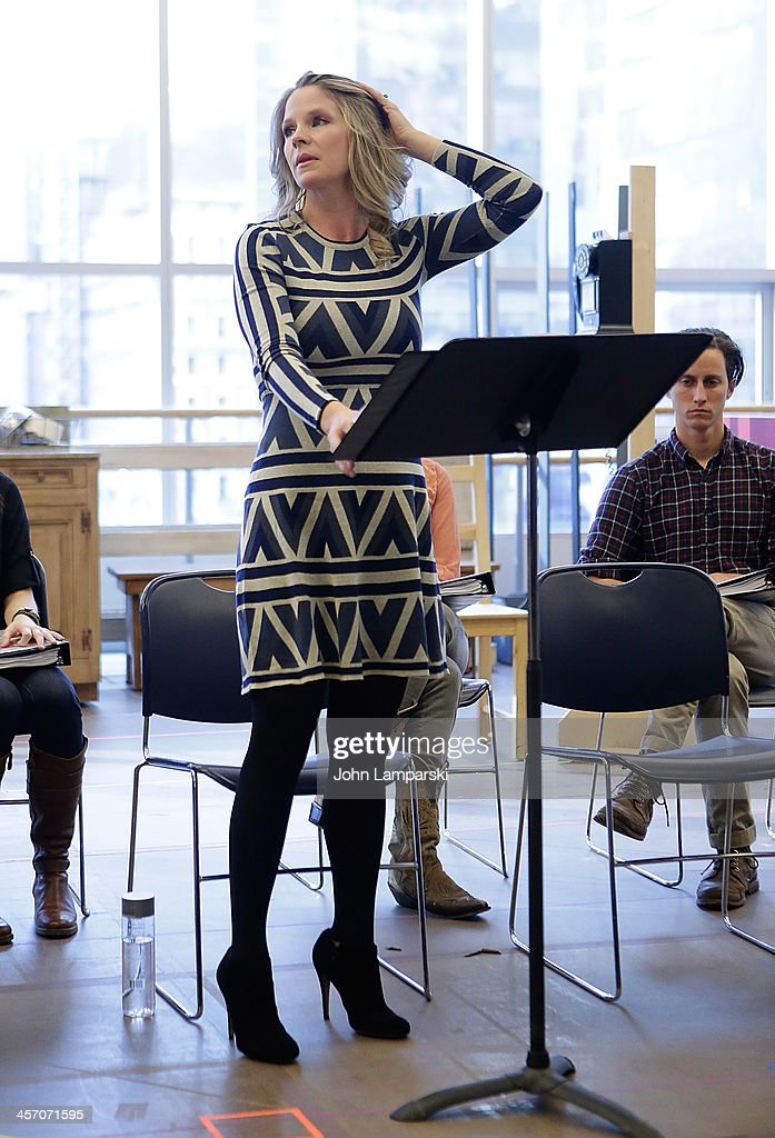 Actor <a gi-track='captionPersonalityLinkClicked' href=/galleries/search?phrase=Kelli+O%27Hara+-+Actress&family=editorial&specificpeople=225013 ng-click='$event.stopPropagation()'>Kelli O'Hara</a> performs at 'The Bridges of Madison County' Cast Photo Call at The New 42nd Street Studios on December 16, 2013 in New York City.