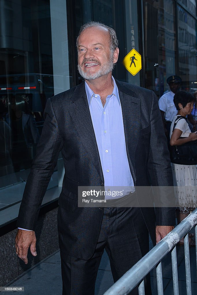 Actor <a gi-track='captionPersonalityLinkClicked' href=/galleries/search?phrase=Kelsey+Grammer&family=editorial&specificpeople=210500 ng-click='$event.stopPropagation()'>Kelsey Grammer</a> leaves the 'Today Show' taping at the NBC Rockefeller Center Studios on August 16, 2012 in New York City.