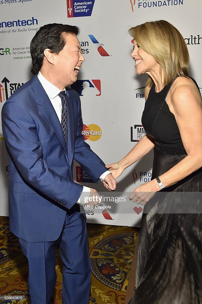 Actor Ken Jeong (L) and Co-founder & SU2C Council of Founders and Advisors, Katie Couric attend Stand Up To Cancer's New York Standing Room Only, presented by Entertainment Industry Foundation, with donors American Airlines and Merck, chaired by Jim Toth, Reese Witherspoon & MasterCard President/CEO Ajay Banga and his wife Ritu, honoring Katie Couric at Cipriani Wall Street on April 9, 2016 in New York City.