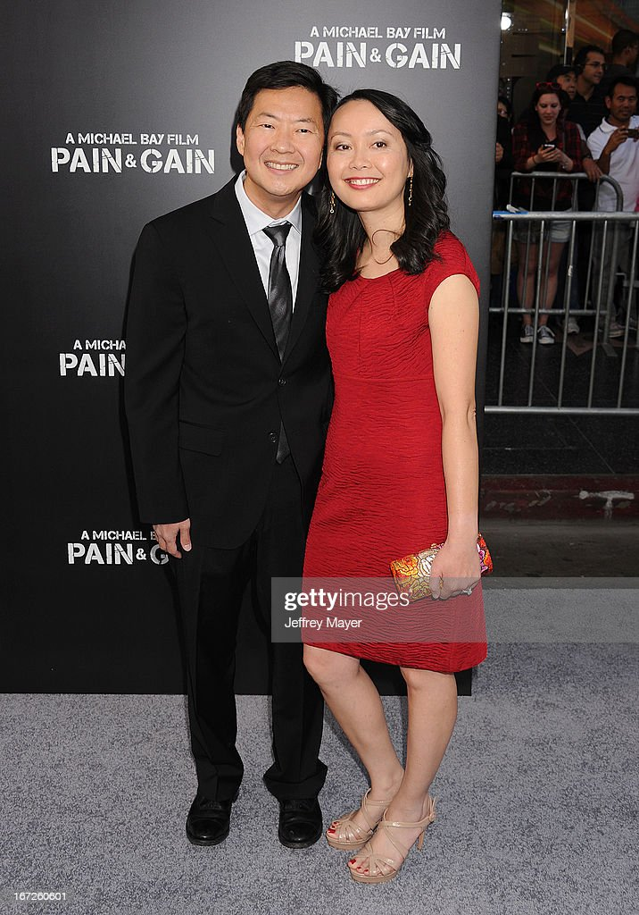 Actor Ken Jeong and Dr. Tran Jeong attend the 'Pain & Gain' premiere held at TCL Chinese Theatre on April 22, 2013 in Hollywood, California.