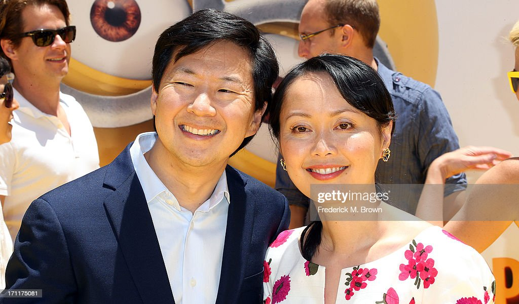 Actor Ken Jeong (L) and his wife attend the premiere of Universal Pictures' 'Despicable Me 2' at the Gibson Amphitheatre on June 22, 2013 in Universal City, California.