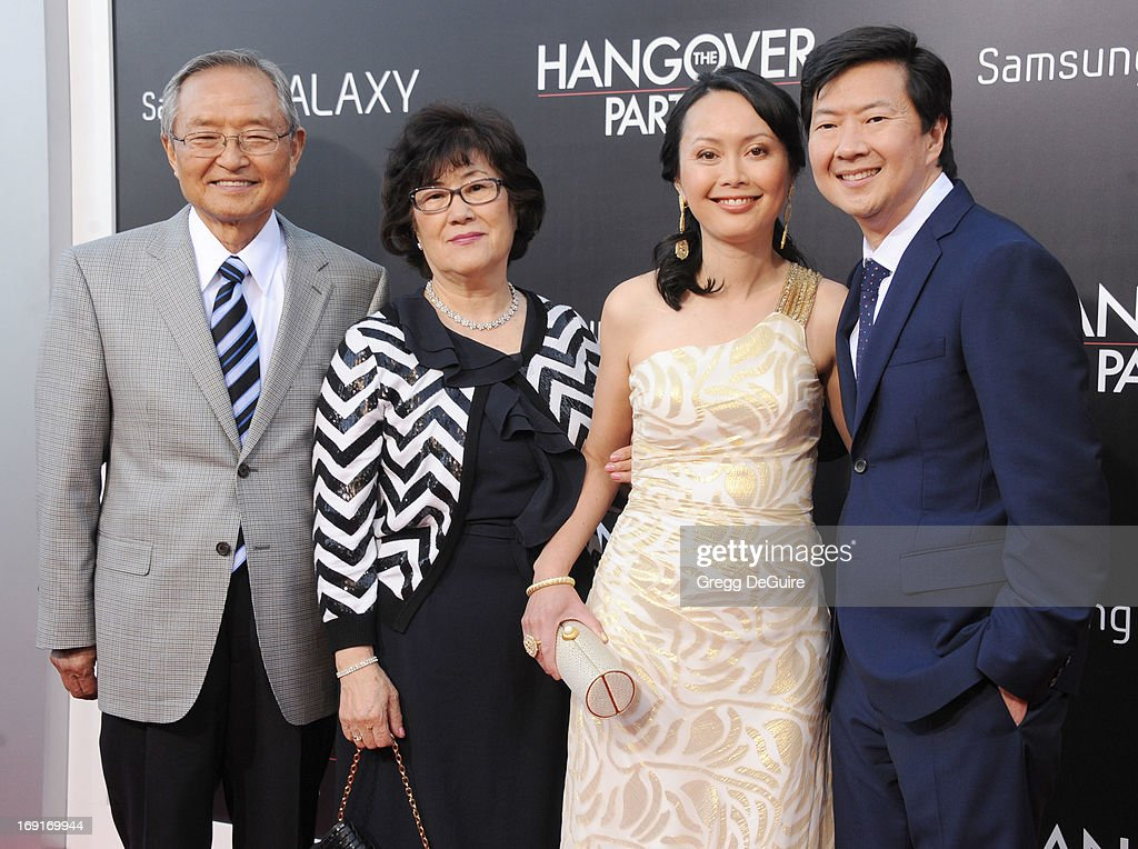 Actor <a gi-track='captionPersonalityLinkClicked' href=/galleries/search?phrase=Ken+Jeong&family=editorial&specificpeople=4195975 ng-click='$event.stopPropagation()'>Ken Jeong</a> (R), wife Tran Jeong and parents arrive at the Los Angeles premiere of 'The Hangover III' at Mann's Village Theatre on May 20, 2013 in Westwood, California.