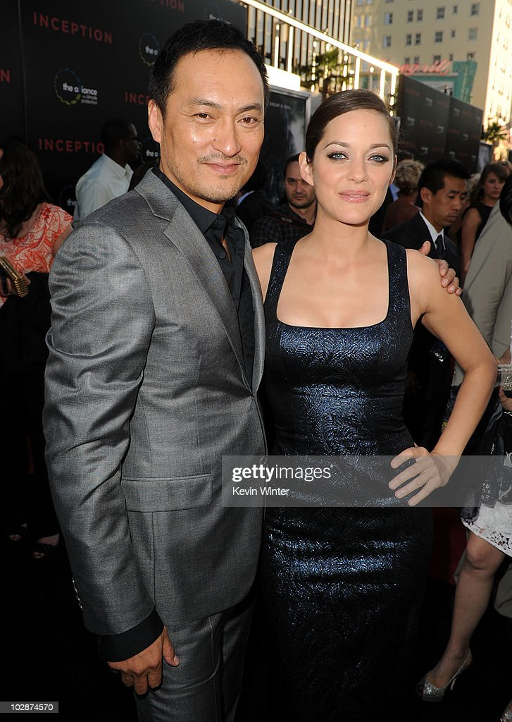 Actor <a gi-track='captionPersonalityLinkClicked' href=/galleries/search?phrase=Ken+Watanabe&family=editorial&specificpeople=214016 ng-click='$event.stopPropagation()'>Ken Watanabe</a> (L) and actress <a gi-track='captionPersonalityLinkClicked' href=/galleries/search?phrase=Marion+Cotillard&family=editorial&specificpeople=215303 ng-click='$event.stopPropagation()'>Marion Cotillard</a> arrive to premiere of Warner Bros. 'Inception' at Grauman's Chinese Theatre on July 13, 2010 in Los Angeles, California.