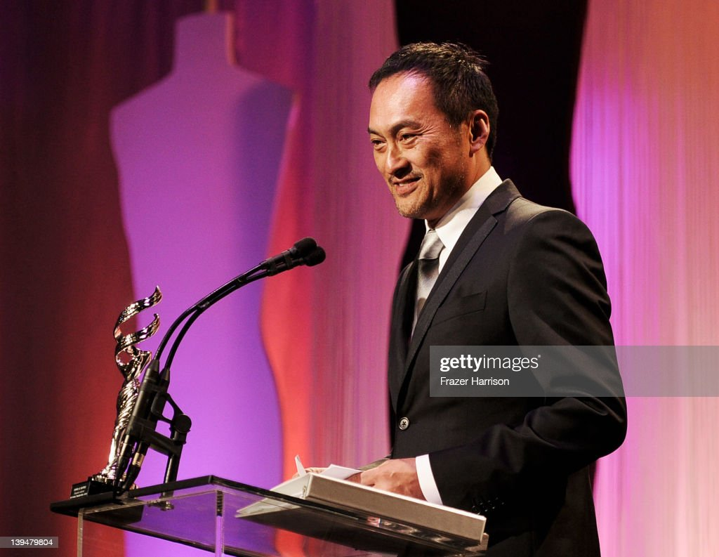 Actor <a gi-track='captionPersonalityLinkClicked' href=/galleries/search?phrase=Ken+Watanabe&family=editorial&specificpeople=214016 ng-click='$event.stopPropagation()'>Ken Watanabe</a> onstage during the 14th Annual Costume Designers Guild Awards With Presenting Sponsor Lacoste held at The Beverly Hilton hotel on February 21, 2012 in Beverly Hills, California.