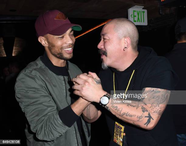 Actor Kendrick Sampson and founder and CEO of Hudson Jeans Peter Kim attend a private event hosted by Hudson at Hyde Staples Center for a Red Hot...