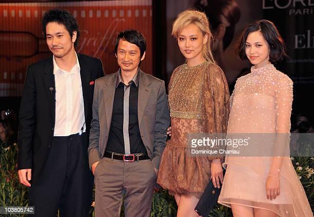 Actor Kenichi Matsuyama Director Anh Hung Tran actress Rinko Kikuchi and actress Kiko Mizuhara attend the 'Norwegian Wood' premiere at the Palazzo...