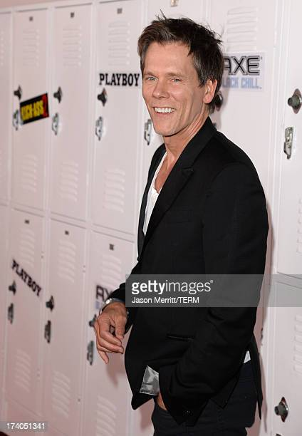 Actor Kevin Bacon arrives at the Playboy and Universal Pictures' 'KickAss 2' event at ComicCon sponsored by AXE Black Chill on July 19 2013 in San...