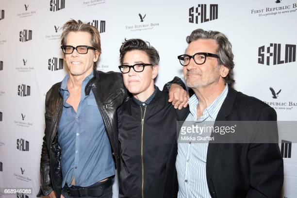 Actor Kevin Bacon director Sarah Gubbins and actor Griffin Dunne arrive at the premiere of 'I love Dick' at Alamo Drafthouse New Mission theater at...