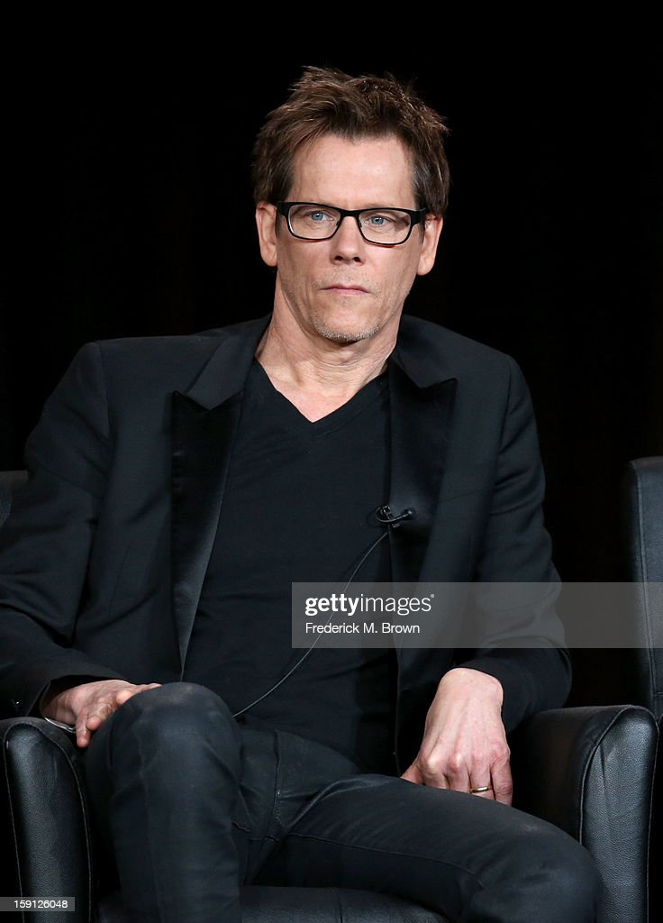 Actor <a gi-track='captionPersonalityLinkClicked' href=/galleries/search?phrase=Kevin+Bacon&family=editorial&specificpeople=202000 ng-click='$event.stopPropagation()'>Kevin Bacon</a> of 'The Following' speaks onstage during the FOX portion of the 2013 Winter TCA Tour at Langham Hotel on January 8, 2013 in Pasadena, California.
