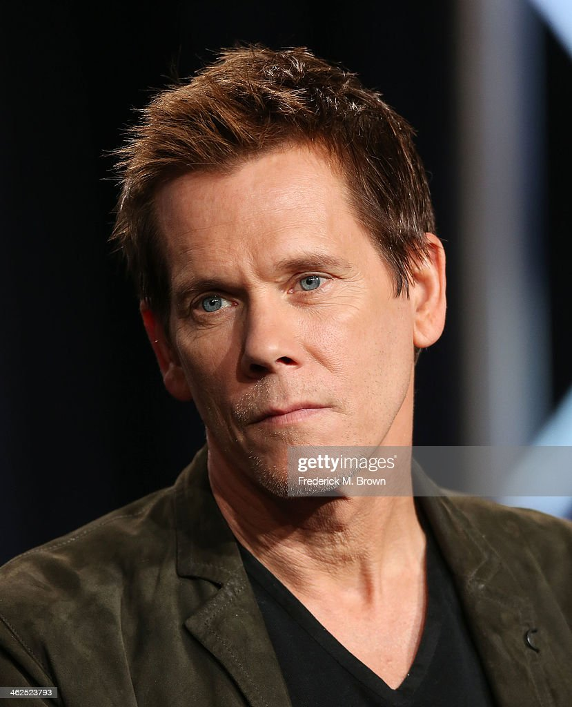Actor <a gi-track='captionPersonalityLinkClicked' href=/galleries/search?phrase=Kevin+Bacon&family=editorial&specificpeople=202000 ng-click='$event.stopPropagation()'>Kevin Bacon</a> of the television show 'The Following' speaks during the FOX portion of the 2014 Television Critics Association Press Tour at the Langham Hotel on January 13, 2014 in Pasadena, California.