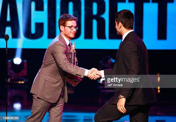 Actor Kevin Connolly presents Max Pacioretty of the Montreal Canadiens the Masterton Trophy during the 2012 NHL Awards at the Encore Theater at the...