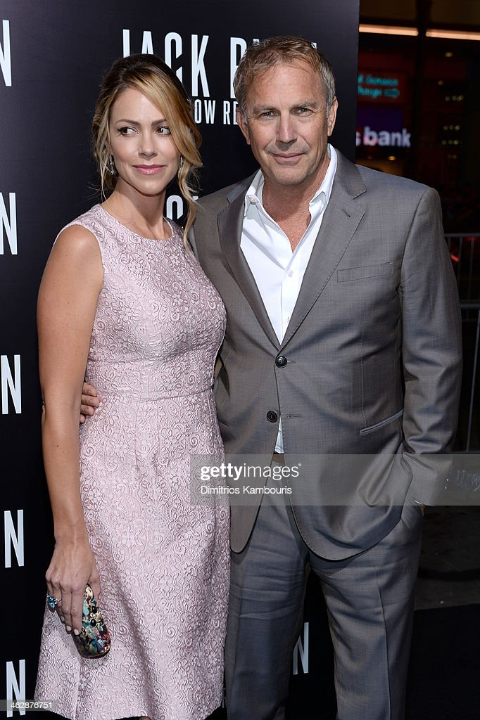 Actor Kevin Costner and Christine Baumgartner attend the premiere of Paramount Pictures' 'Jack Ryan Shadow Recruit' at TCL Chinese Theatre on January...