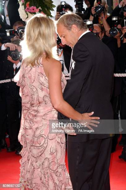 Actor Kevin Costner and his girlfriend Christine Baumgarter arriving for the premiere of The Matrix Reloaded at the Palais des Festival in Cannes