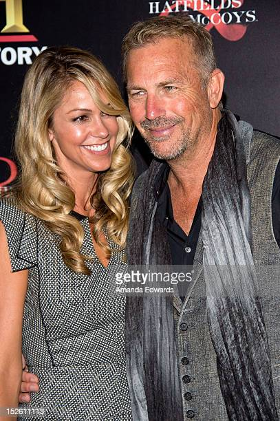 Actor Kevin Costner and his wife Christine Baumgartner arrive at the History Channel PreEmmy Party at Soho House on September 22 2012 in West...
