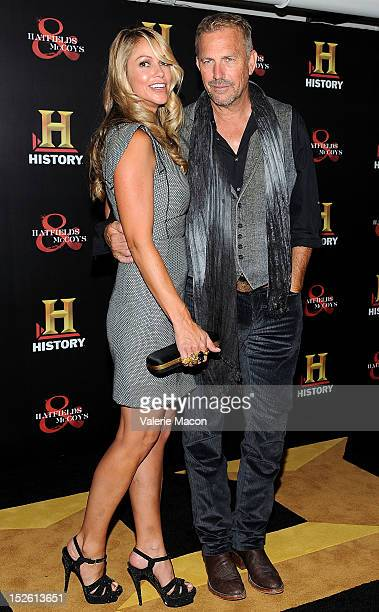 Actor Kevin Costner and his wife Christine Baumgartner arrive at the History Channel's PreEmmy Party at Soho House on September 22 2012 in West...